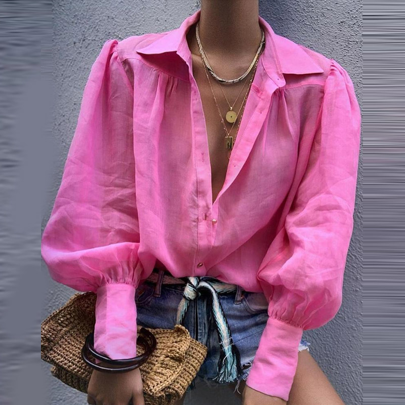 Lantern Sleeve Single Breasted Women's Shirt Tops Solid Turn Down Collar Female Shirts 2020 Spring Summer Casual Office Lady Top