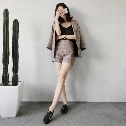 Spring Blazer Women Slim Top Elegant Double Breasted 2020 Fashion OL Plaid Jackect High Waist Shorts Female Set LX1415