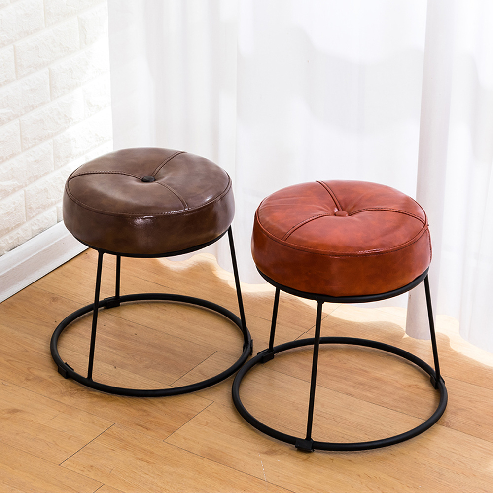 Creative Simple Iron Stool Leather Table Stool Sofa Stool Small Round Stool Modern Fashion Bedroom Stool Leather Ottoman Small