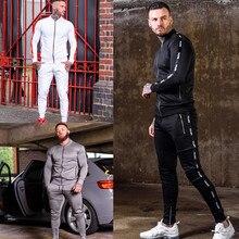 New Autumn Winter Men Fashion Casual Sweatsuit Jogging Suit Long Sleeves Tracksuit Sport Sets Zip cardigan pocket