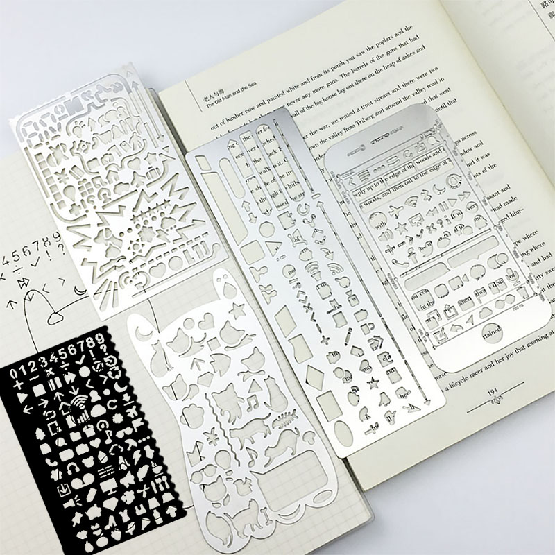 Kawaii Accessories Template Ruler Multi-function Drawing Graffiti Metal Ruler Stainless Steel Hollow Geometry Pattern Ruler