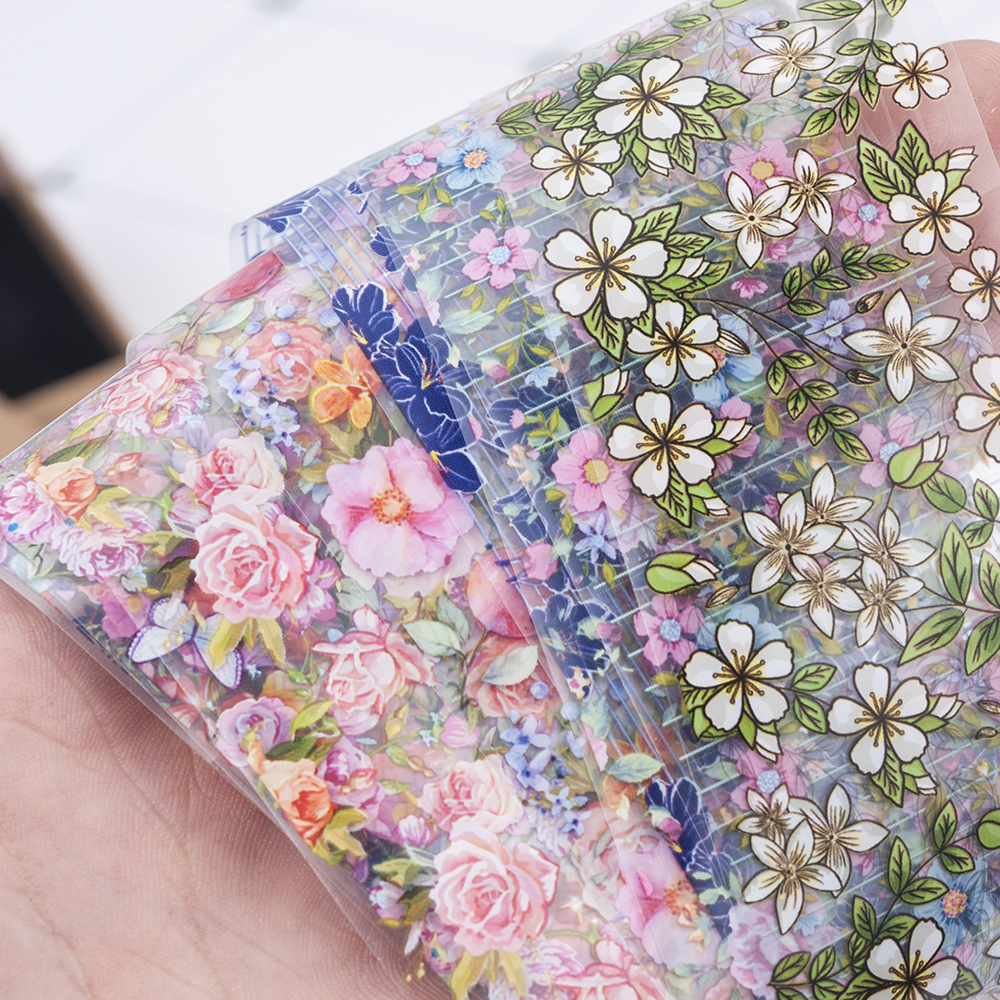 10Pcs/Set Fashion Nail Foil Stickers Set Women For Nails Rose Blue Flowers Art Stick Decals Transfer Sticker Decoration DIY