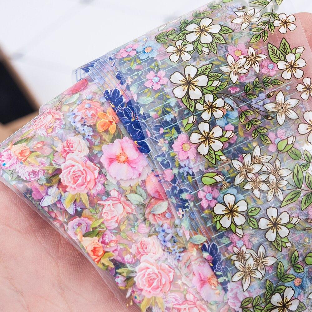 10Pcs/Set Fashion Nail Foil Stickers Set Women For Nails Rose Blue Flowers Art Stick Decals Transfer Sticker Decoration DIY