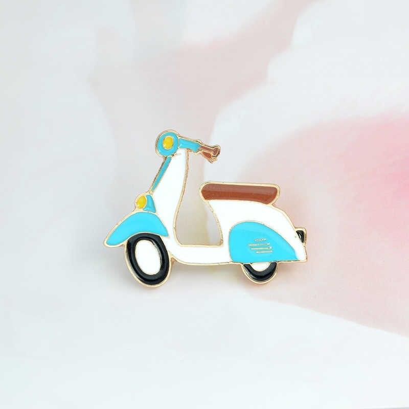 เข็มกลัดและเข็มกลัด Retro moto blue moto รีไซเคิลเข็มกลัด Hard เคลือบโลหะ pins up การ์ตูนเครื่องประดับของขวัญเด็ก