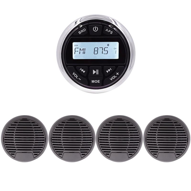 Guzare Bluetooth Marine stéréo lecteur Mp3 FM média Radio récepteur étanche + 2 paires 3