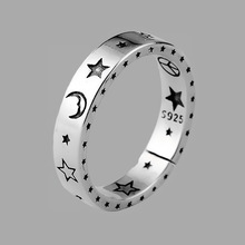 ANENJERY Vintage Moon Star Open Thai Silver Color Ring Smiling Face Finger Rings For Fashion Women Jewelry S-R613