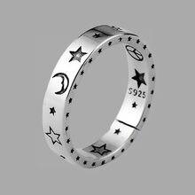 ANENJERY Vintage düzensiz pürüzsüz kilit zinciri tay gümüş yüzük 925 ayar gümüş ayarlanabilir boyutu yüzük takı toptan S-R589