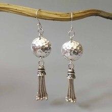 925 Sterling Silver Flat Ball Tassel Drop Earrings Handmade Hammer Face Earrings Ethnic Jewelry For Women Party Gifts