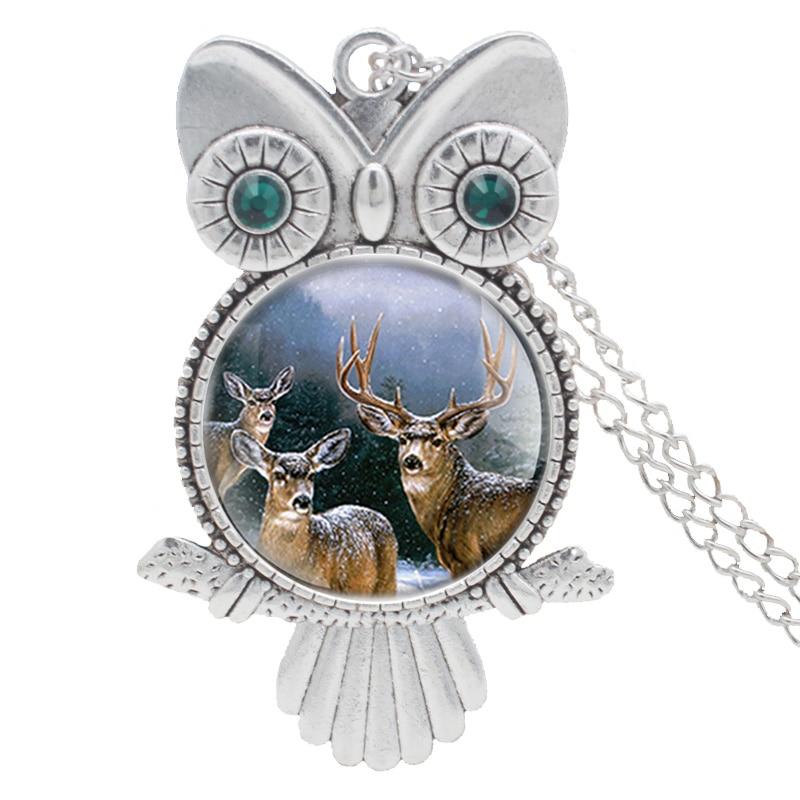 Handmade Inlaid Rhinestone  Necklace Classic Elk  Pendant Charm Unisex  Jewelry Gifts