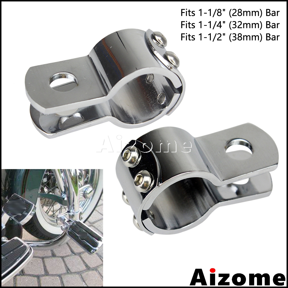 """2X Motorcycle Highway Footpegs Clamps 1.25/"""" Foot Pegs For Honda Harley Touring"""