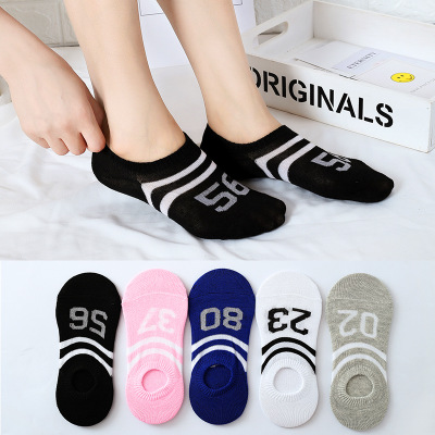 Summer Spring Simple Numbers Print Sox Ow Ankle Invisible Slippers Girl 2019 Socks Women Cute Kawaii Streetwear Thin Non Slip