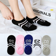 Summer Spring Simple Numbers Print Sox ow Ankle Invisible Slippers Girl 2019 Socks Women Cute Kawaii Streetwear Thin Non Slip(China)
