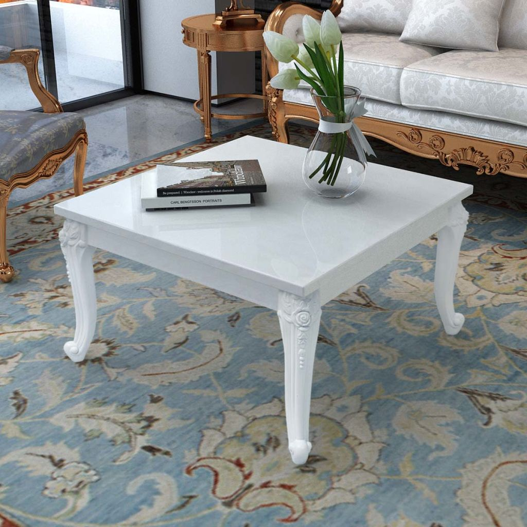 VidaXL Coffee Table 80x80x42 Cm High Gloss White