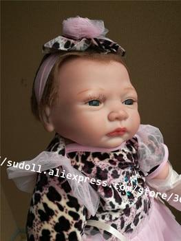 Sudoll 21'' Reborn Girl Boy Dolls Baby Lifelike Soft Silicone Doll Realistic Lovely Toy Gift