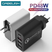 48W PD Charger การจัดส่ง Turbo USB C Quick Charger 3.0 ประเภท C QC 3.0 Fast Wall Charger สำหรับ iPhone 11 IMac Air SWITCH พิกเซล