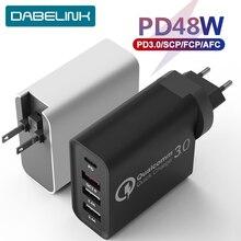 "48W פ""ד מטען משלוח טורבו USB C רב מהיר מטען 3.0 סוג C QC 3.0 מהיר קיר מטען עבור iPhone 11 Imac אוויר מתג פיקסל"
