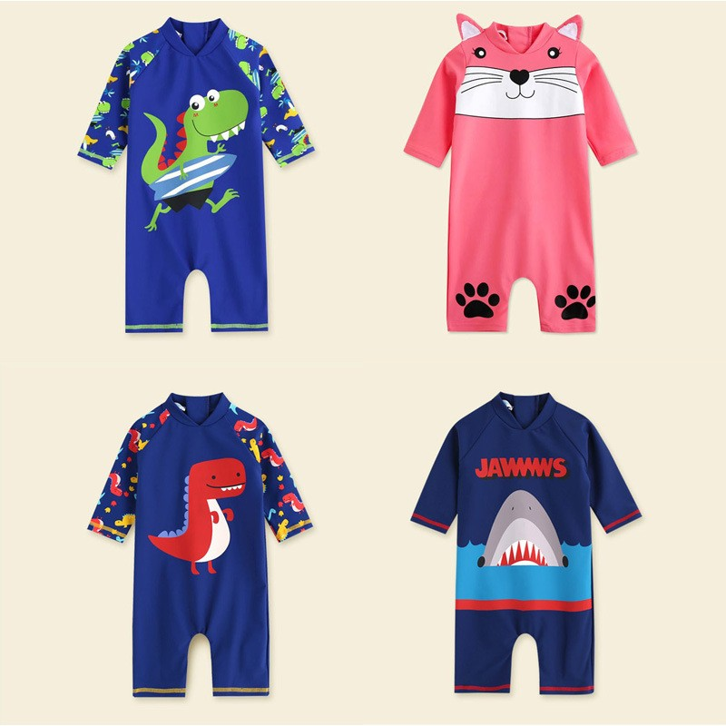 Baby Boys Swimsuit Children Beachwear One Piece Kids Long Sleeve Swimwear 2020 New Summer Dinosaur Beach Swim Suit For Boys 4.9