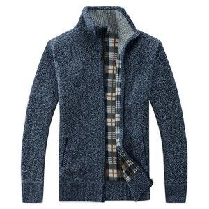 2018 Autumn Winter Men's Sweater Coat Faux Fur Wool cardigan Sweater Jackets Men Zipper Knitted Thick Coat Casual Knitwear Y1(China)