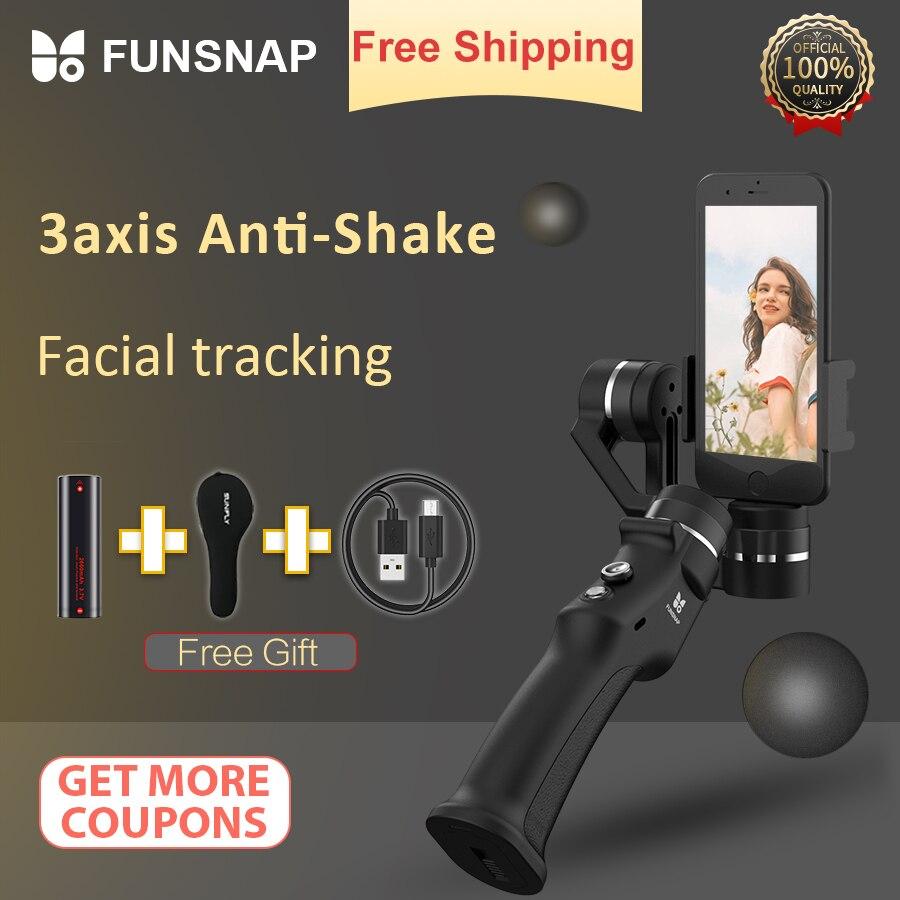 Captura de Funsnap 3 Eixo Cardan Handheld Estabilizador Cardan Smartphone Para Xiaomi 4k Ação Gopro Sjcam Gimbals Câmera Estabilizador