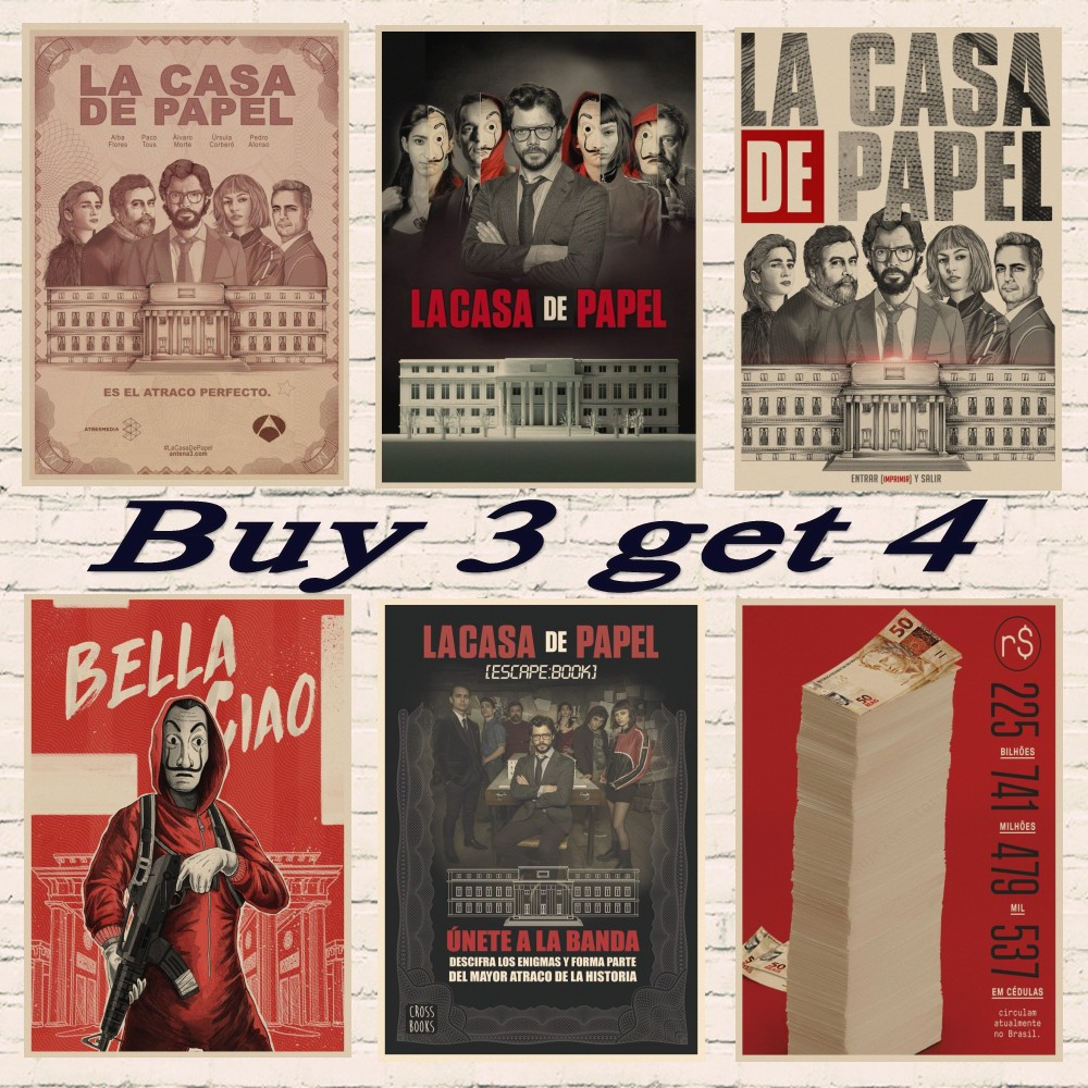 La Casa De Papel Money Heist Posters Retro kraft paper art Wall home Decoration Movie poster-in Wall Stickers from Home & Garden