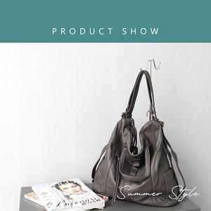 Image 2 - CEZIRA sıcak satış PU yıkanmış deri kadın büyük omuzdan askili çanta bayanlar yumuşak Vegan deri sırt çantaları kadın fonksiyonlu okul sırt çantası