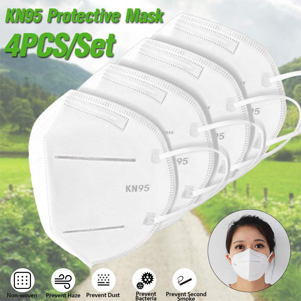 60pcs Face Mask Medical Mask N95 4-Layer Anti Pollution Dustproof PM2.5 Mouth Mask Anti Influenza Breathing Safety Mouth Caps