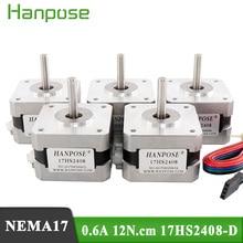 5pcs/lot 17HS2408 4-lead Nema17 Stepper Motor 42 motor 42BYGH 0.6A CE ROSH ISO CNC Laser and 3D printer