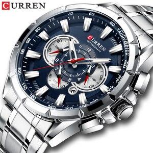 Image 1 - CURREN – Nouvelle montre sport décontracté chronographe pour homme, Bracelet sportif, grand cadran, en acier inoxydable, avec aiguilles lumineuses, collection récente, moderne, disponible en cinq couleurs différentes