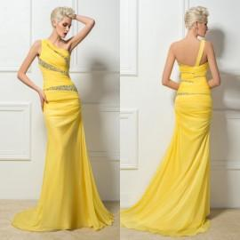 One Shoulder Prom Dresses 2015 Yellow Evening Dresses Ruffled Chiffon Sweep Train Mermaid With Strap Beaded Prom Dress