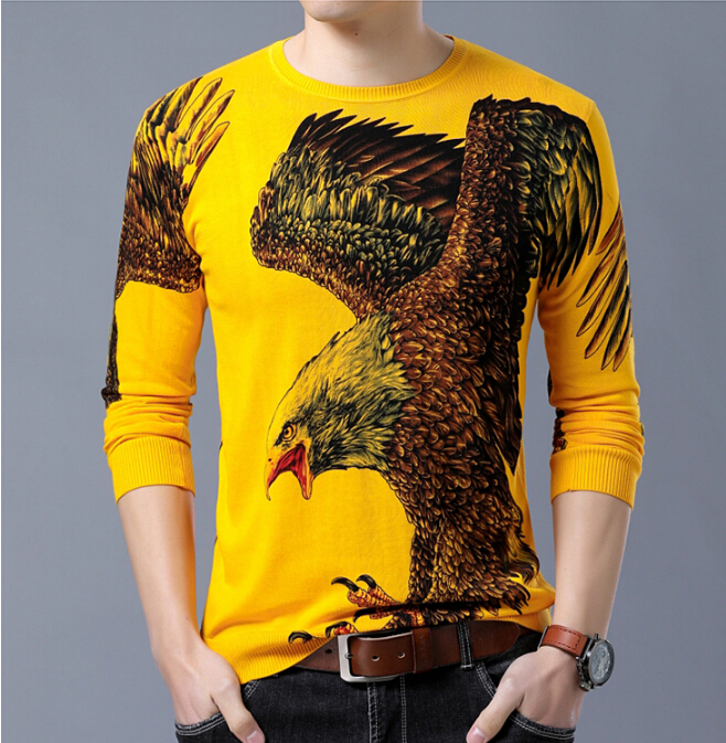 Autumn Dragon Sweaters Men's Long Sleeve Printed Thin Sweater Domineering Men's Round Neck Design