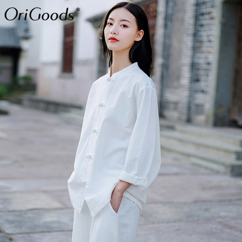 OriGoods Women Long sleeve Shirt 2019 Autumn Chinese style Shirt Blouse Cotton Linen Vintage Shirt Qigong Tai Chi clothes C269 Women Women's Blouses Women's Clothings