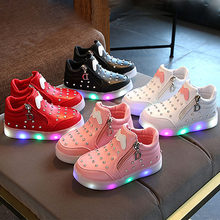 Luminous Sneakers Girls Students Winter Unisex Lighting Shoes Baby Girls Lights Up Shoes with Battery Walking Sports Sneakers(China)