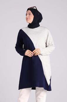 Minahill szary sweter moda muzułmańska islamska odzież skromne topy arabska odzież długa tunika dla kobiet Abaya Dubai 1091-04 tanie i dobre opinie TR (pochodzenie) tops Aplikacje Bluzki i koszule Octan Dla dorosłych