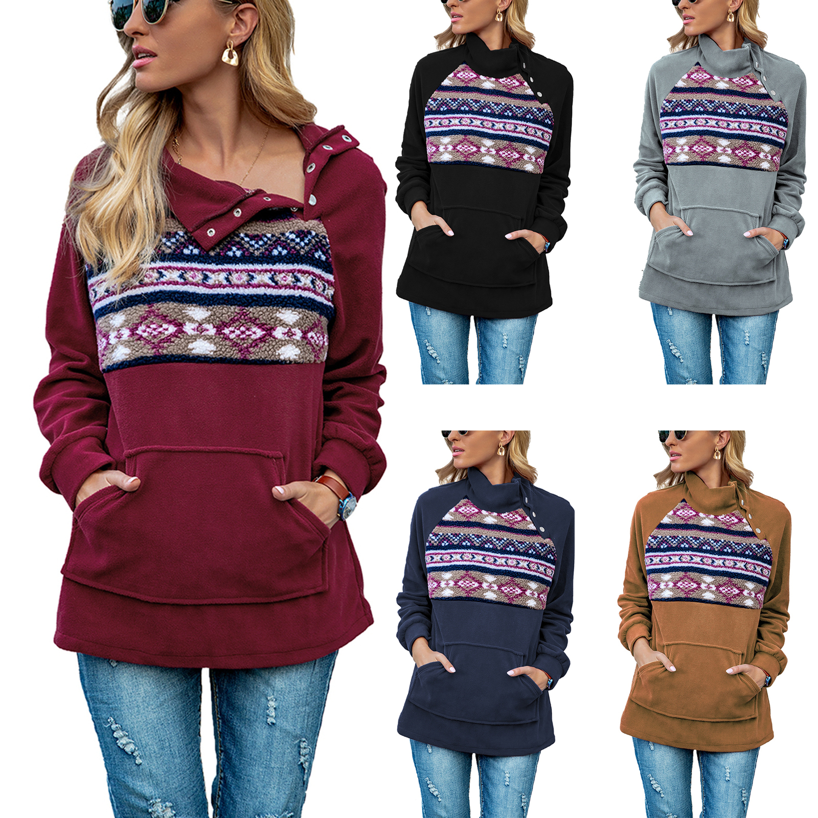 Women's Loose Sweatshirts, Casual Long Sleeve Turtleneck Button Pullover Tops with Pocket