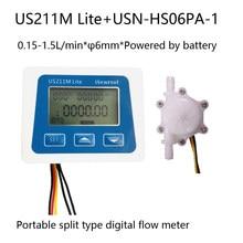 Us211m lite medidor de fluxo digital portátil com USN-HS06PA 6mm od mangueira farpa sensor fluxo isentrol tecnologia