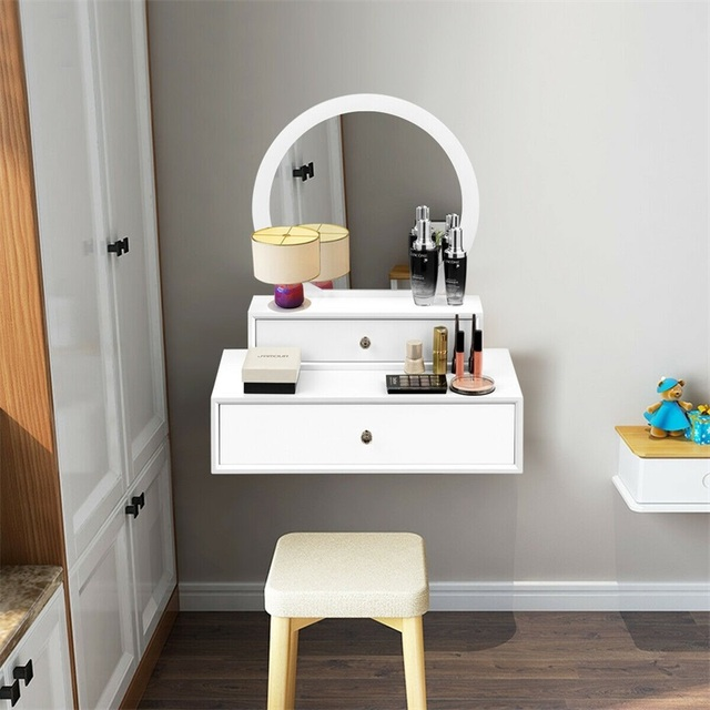 Bedroom Furniture White Makeup Dresser Table Dressing Wall Mounted Vanity Mirror with 2 Drawer HW65956 4