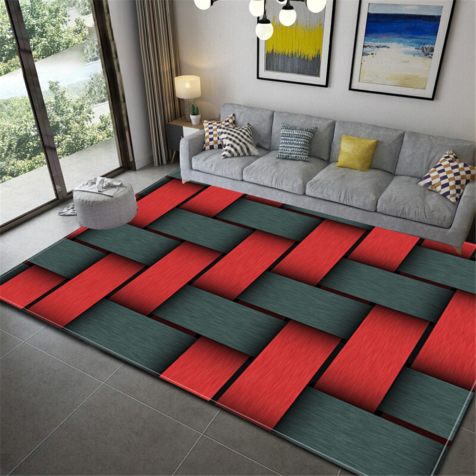 3D Grey Red Plaid Geometric Printed Carpet For Living Room Three-dimensional Abstract Sofa Floor Rug Bedroom Beside Mat