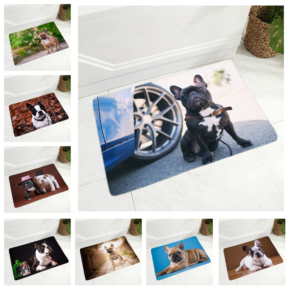 MINI French Bulldog Doormat Decor Cute Pet Dog Animal Floor Door Mat For Hallway Bedroom Non-Slip Soft Flannel Carpet 40x60cm