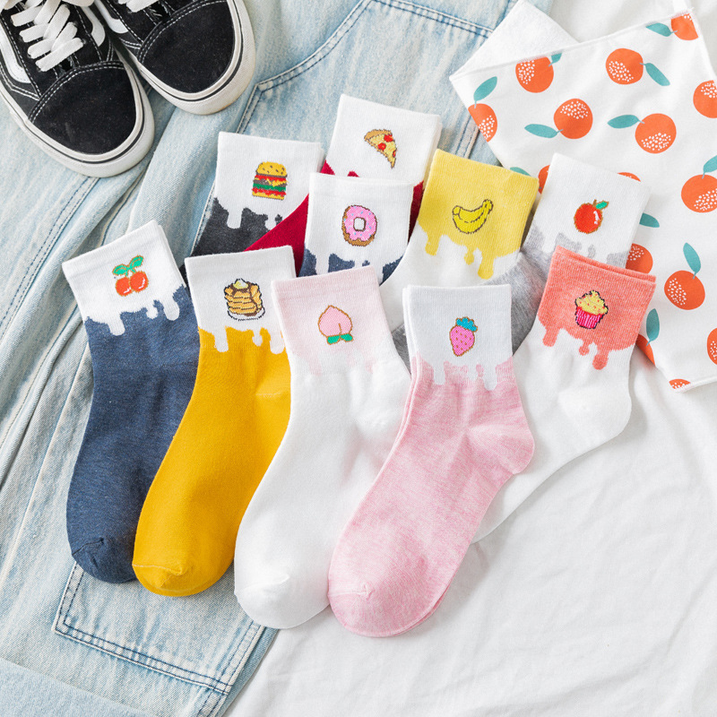 SP&CITY Cartoon Fruits Print Women Socks Cotton Cute Funny Short Socks Food Patterned Breathable Art Ankle Socks Hipster Sporty