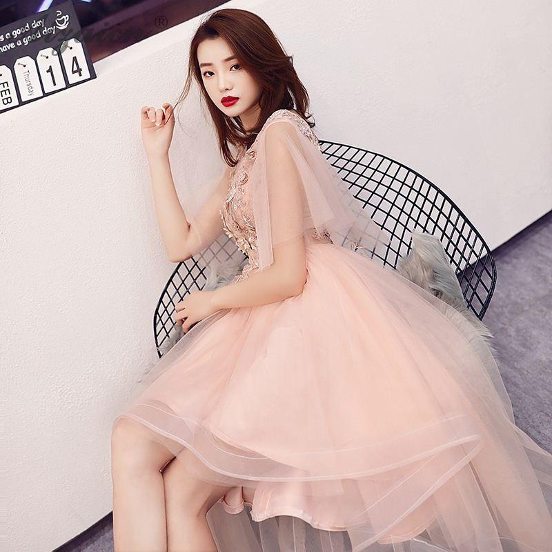 Summer 2019 Irregular Yarn Skirt Qi Pao Women Traditional Chinese Evening Dress Cheongsam Pink Oriental Style Party Gown Qipao