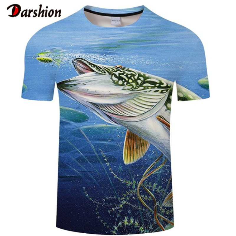 Fashion Casual Punk T Shirt Fishing T-Shirt Men Blue Tshirt 3d Printed Clothes Hip Hop Tees Summer Short Sleeve O-neck Tops&Tees