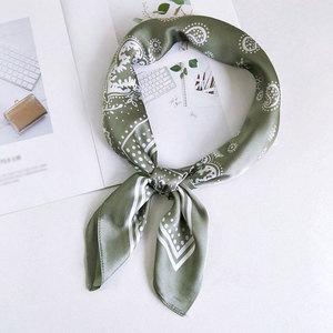 Fashion Cashew Flower Print Small Silk Scarf Women's Scarves Orange Black Silk Satin Head Scarves Hip Hop Bandana Hair Tie Band