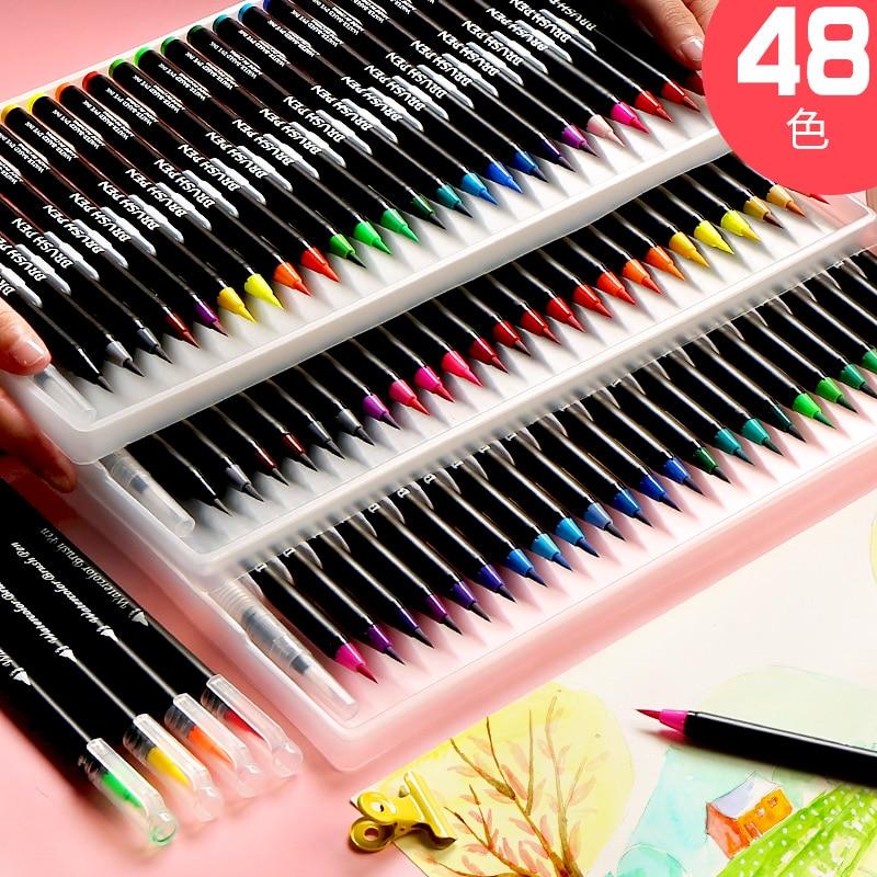 Watercolor Pen Set 24/48 Color Primary School Art Painting Soft Fur Color Pen Set Art Supplies