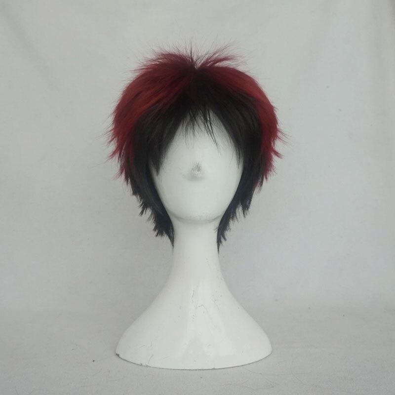 Kuroko's Basketball Kagami Taiga Cosplay Wigs Synthetic Hair  Wine Red Gradual Change Black Short Hair with free hair net