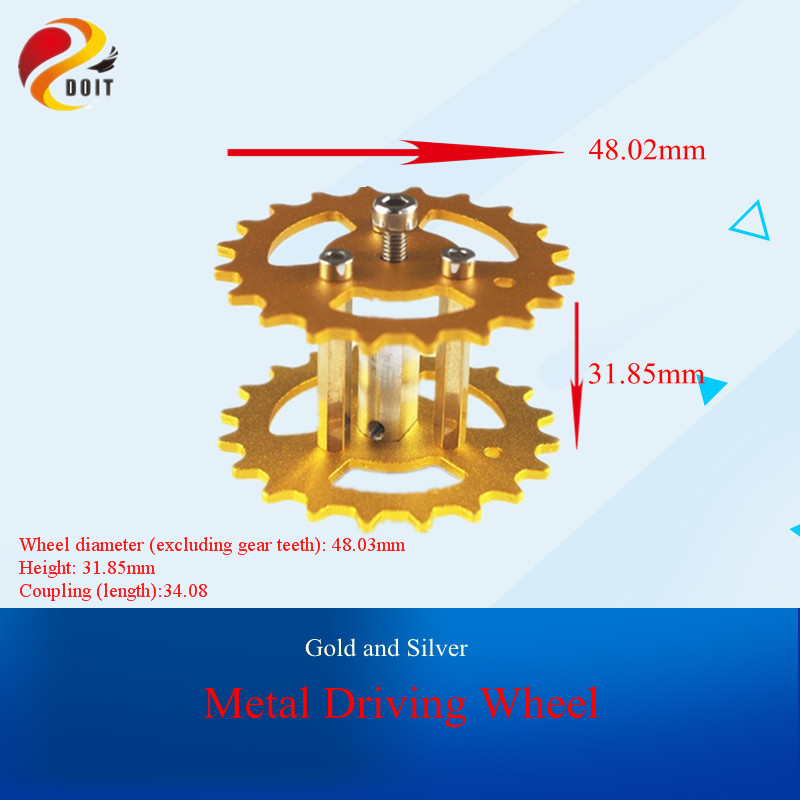 DOIT 2pcs Metal Driving Wheel For Robot Tank Car Chassis, Action Wheel By Caterpillar Remote Control Toys Drive DIY