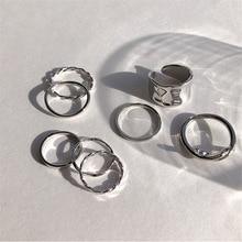 Комплект женских колец в стиле панк, стильные ювелирные украшения в минималистичном стиле с геометрическим узором, круглые и золотые кольц...