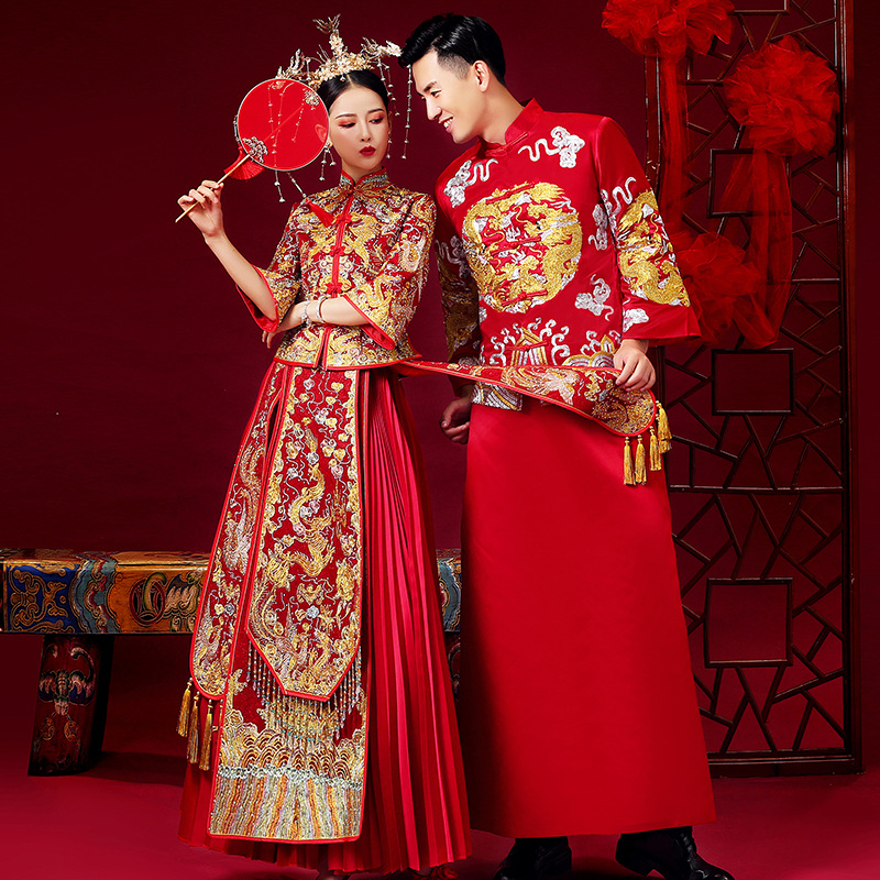 Chinese Traditional Wedding Dress Cheongsam Dragon Phoenix Clothing Qipao Embroidery Red Satin Tops For Woman Gold Brocade Gown