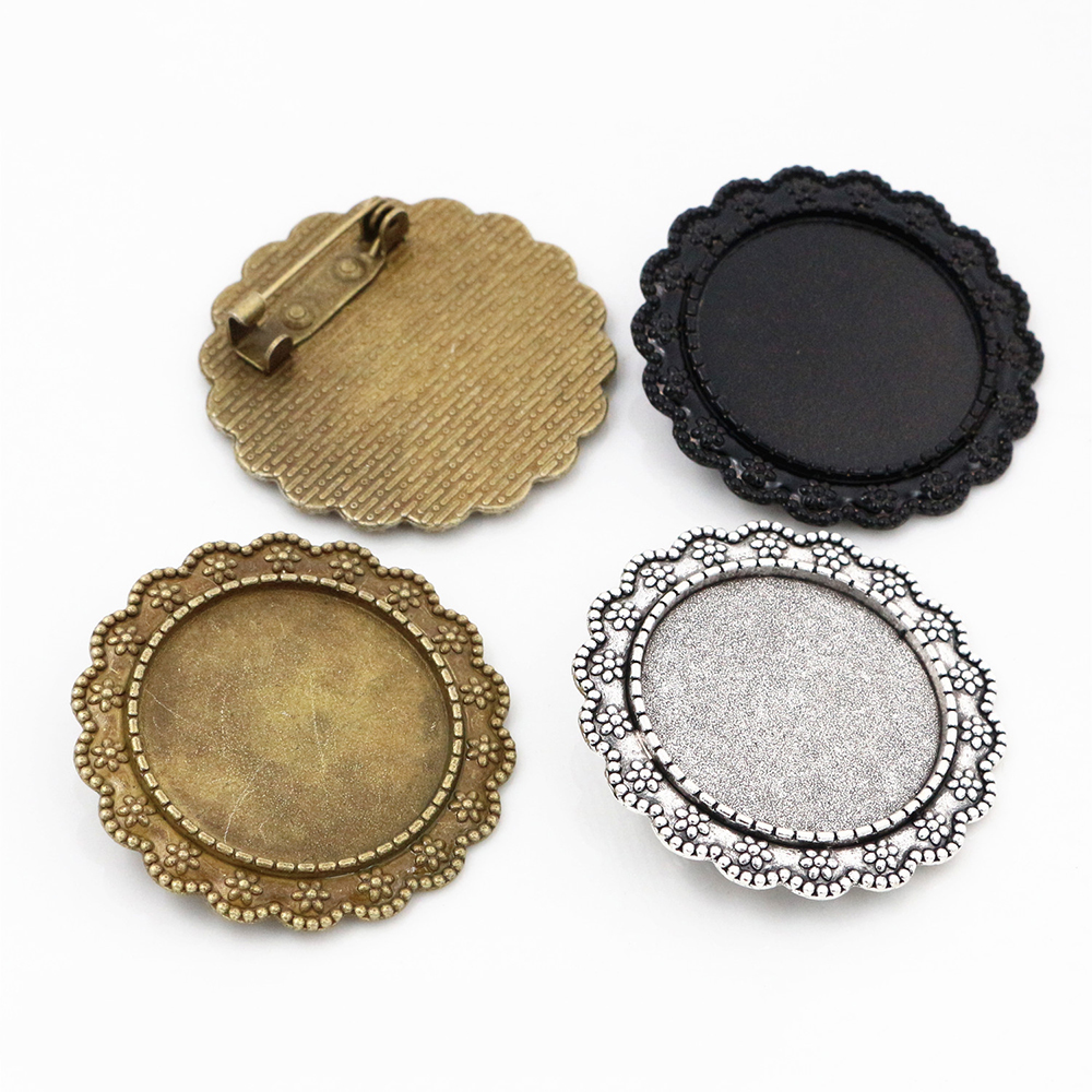 New Fashion  2pcs 25mm Inner Size Antique Silver Plated Adn Bronze And Black Brooch  Cameo Cabochon Base Setting Pendant