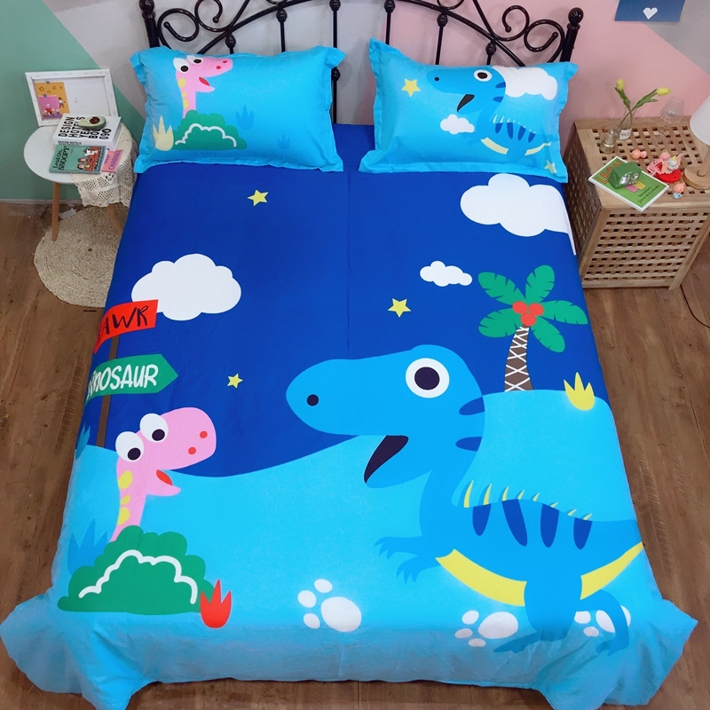Dinosaur Duvet Cover Excavator 100%Cotton Cute 3/4Pcs Bedding Set For Kids Boys Baby Soft Fitted Bed Sheet Set Twin Queen King