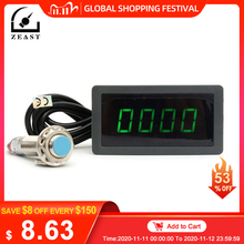 Tachometer 4 Digital Green LED Tach RPM Speed Meter With Hall Proximity Switch Sensor NPN 24V